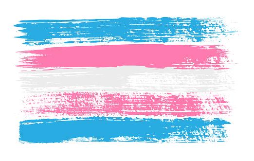 Grunge Transgender pride flag. Vector illustration Symbol of LGBT movement. LGBTQ community