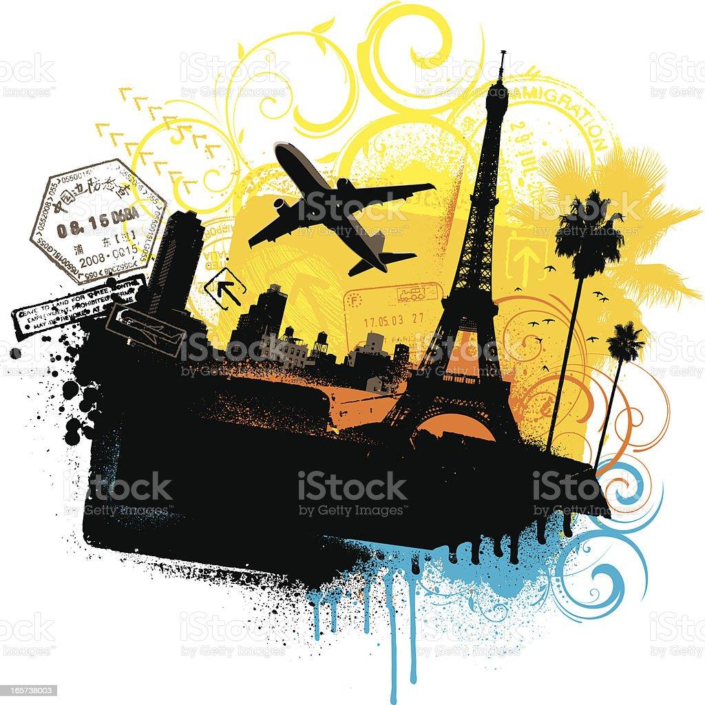 Grunge travel background royalty-free stock vector art