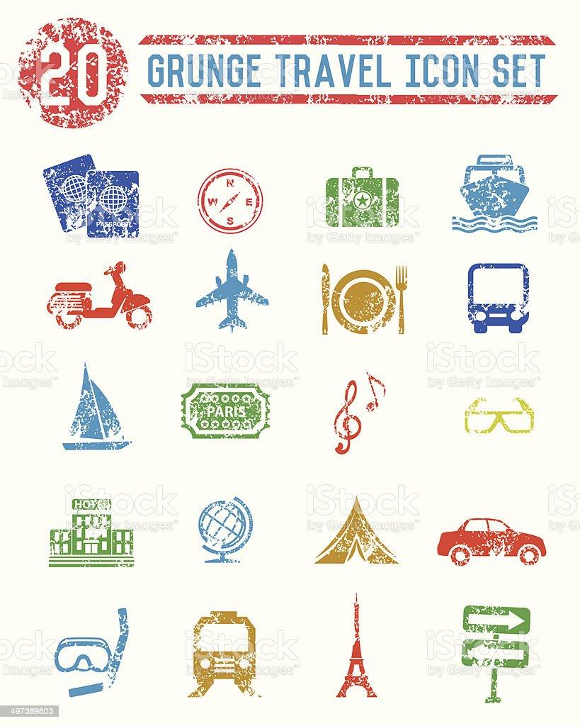 Grunge Travel Icons vector art illustration