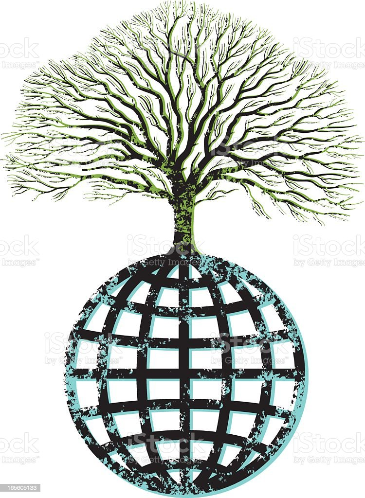 Grunge tree and globe. A tree and globe in a grunge style. Color is on a separate layer and slightly offset to add to the distressed look. It's easy to reduce the offset of the color if required. Damaged stock vector