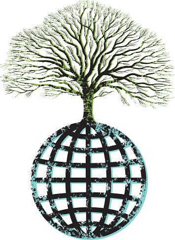 Grunge Tree And Globe Stock Illustration - Download Image Now