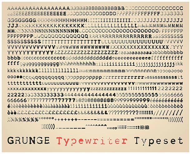 Grunge typewriter typeset Grunge semisans typewriter font. many alternatives for each glyph obsolete stock illustrations