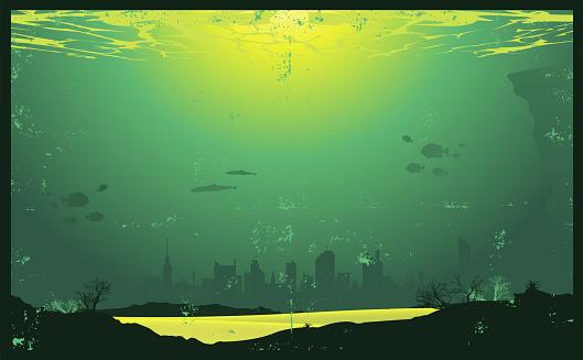 Grunge Underwater Urban Landscape