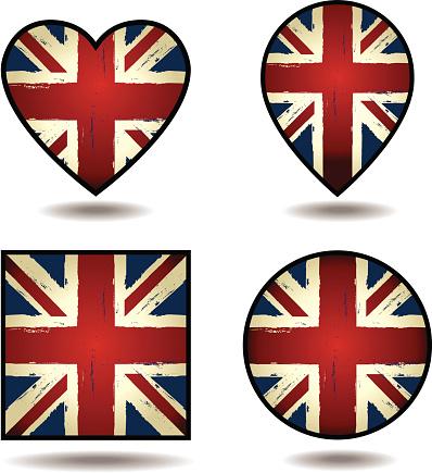 Grunge Union Jack Flags Set of icons