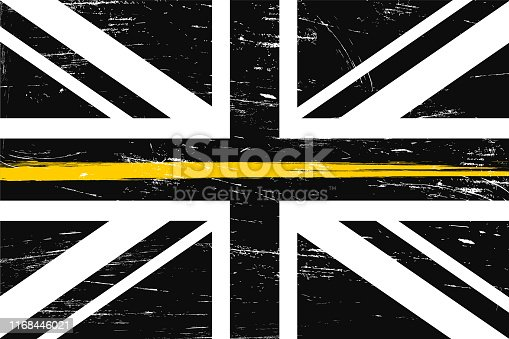 Grunge United Kingdom flag with a thin yellow or gold line - a sign to honor and respect British Dispatchers, Security Guards and Loss Prevention