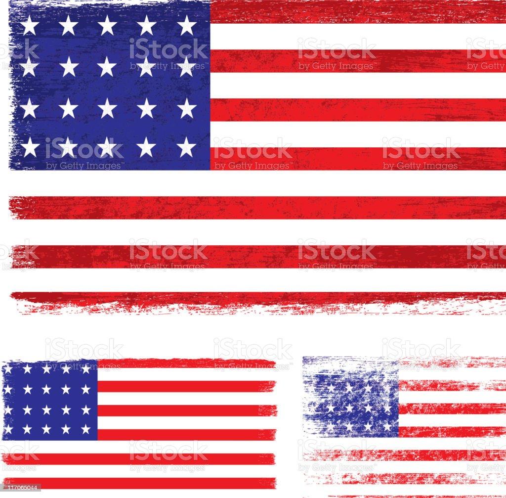 Grunge United States flag vector art illustration
