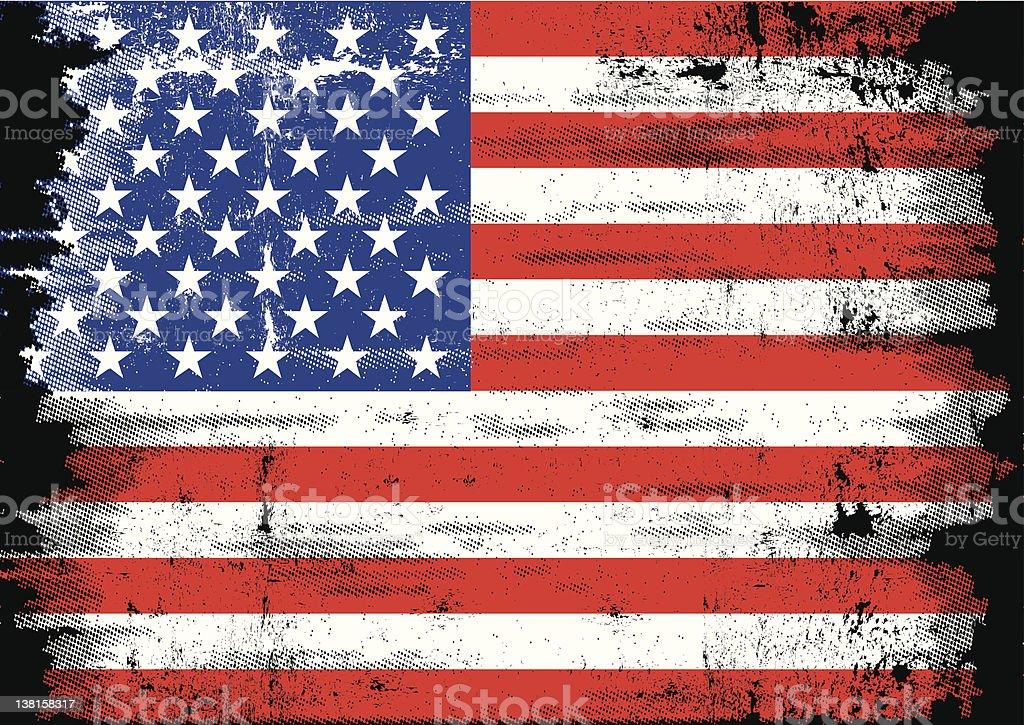 grunge US Flag vector art illustration