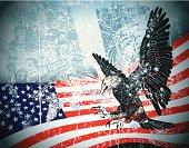 Layered illustration of eagle. Grunge background.
