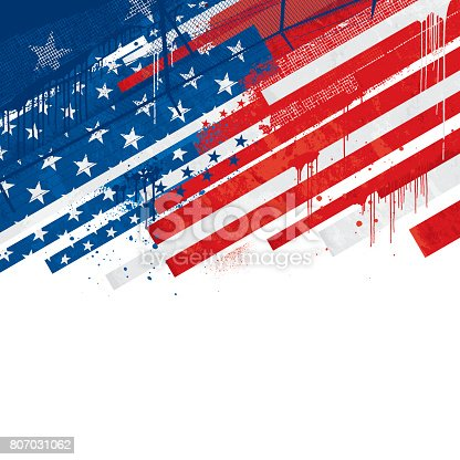 Grunge Stars and stripes dripping paint background vector