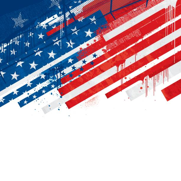 grunge usa background - american flag background stock illustrations
