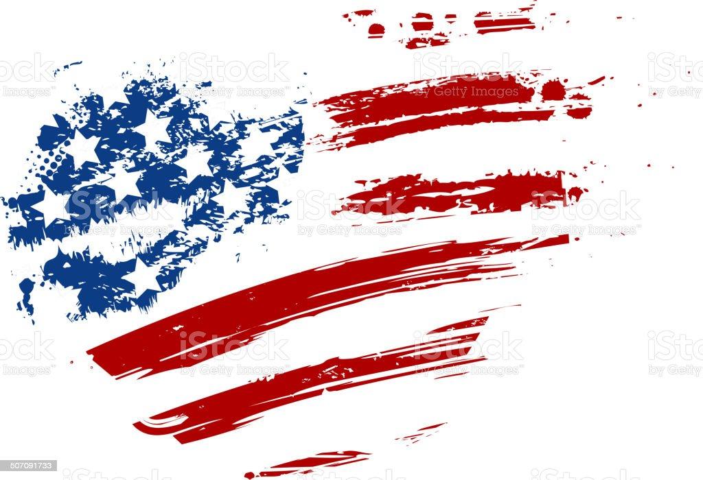 Grunge USA flag in heart shape vector art illustration