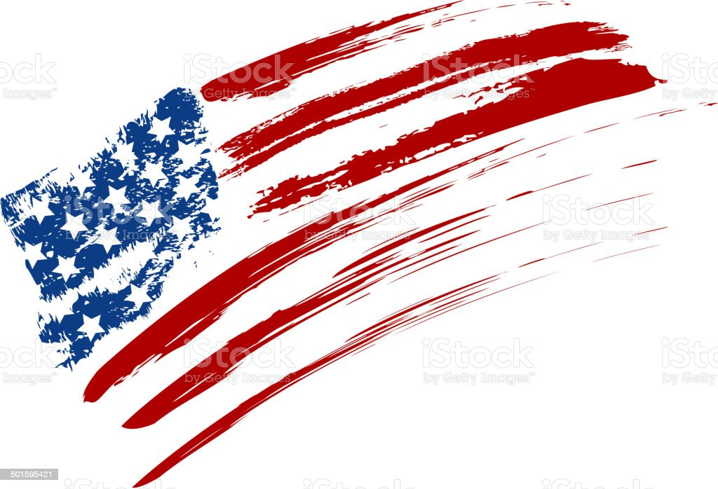 Grunge USA flag vector art illustration