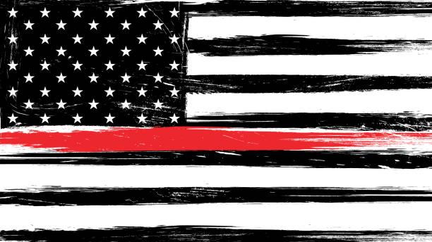 grunge flaga usa z cienką czerwoną linią - znak na cześć i szacunek amerykańskich strażaków. - chudy stock illustrations