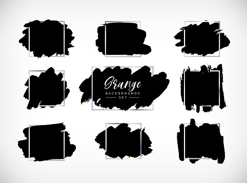Grunge vector backgrounds set. Hand drawn brush spots with silver frames. Ink brush strokes, black paint spot textured design element, background for text with chrome steel square border