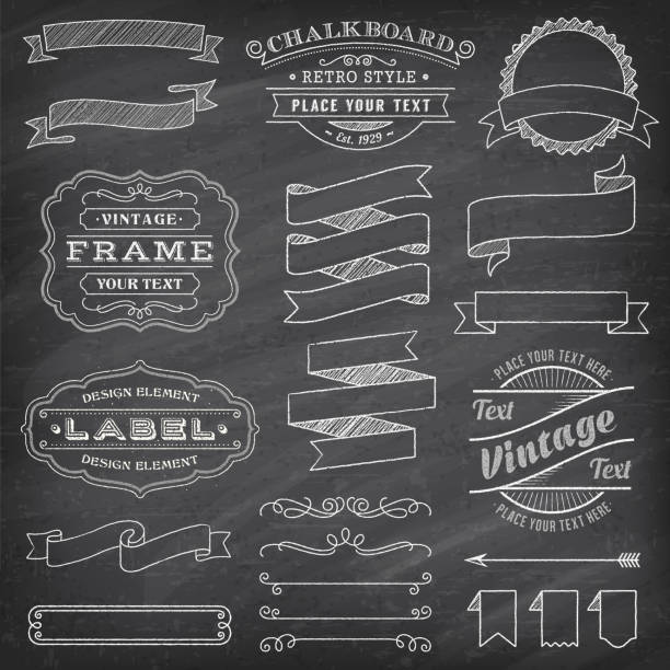 Grunge Vector Banners and Decorations Big collection of vector Banners and Labels, with decorations, swirls and more vintage design elements on a detailed vector chalkboard background flourish art stock illustrations