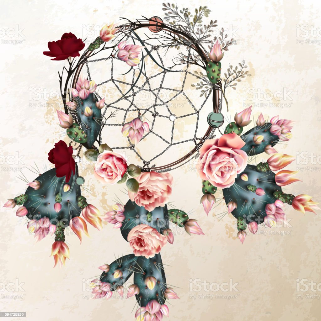 Grunge vector boho background with indian dreamcatcher and rose flowers in vintage style - Illustration .