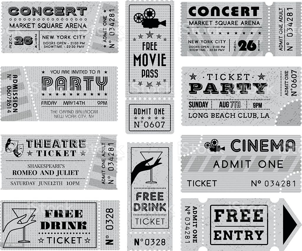 Grunge Vector Grayscale Tickets Collection 3 vector art illustration