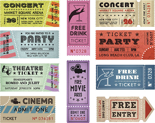Grunge Vector Tickets Collection 3 A collection of 10 vector grunted Tickets, Vector file is organized with layers, with every ticket divided into 3 layers, separating Background Shape from the texture effect and text. admit one stock illustrations