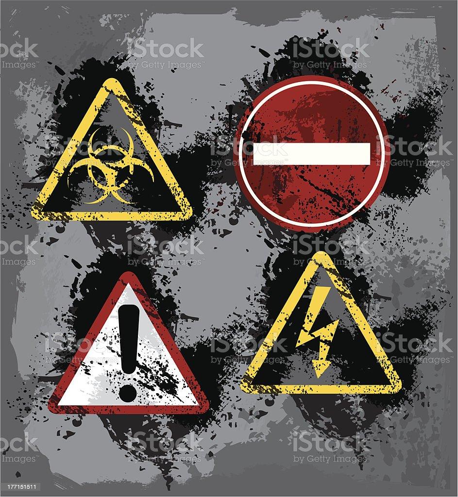 Grunge Warning Signs royalty-free stock vector art