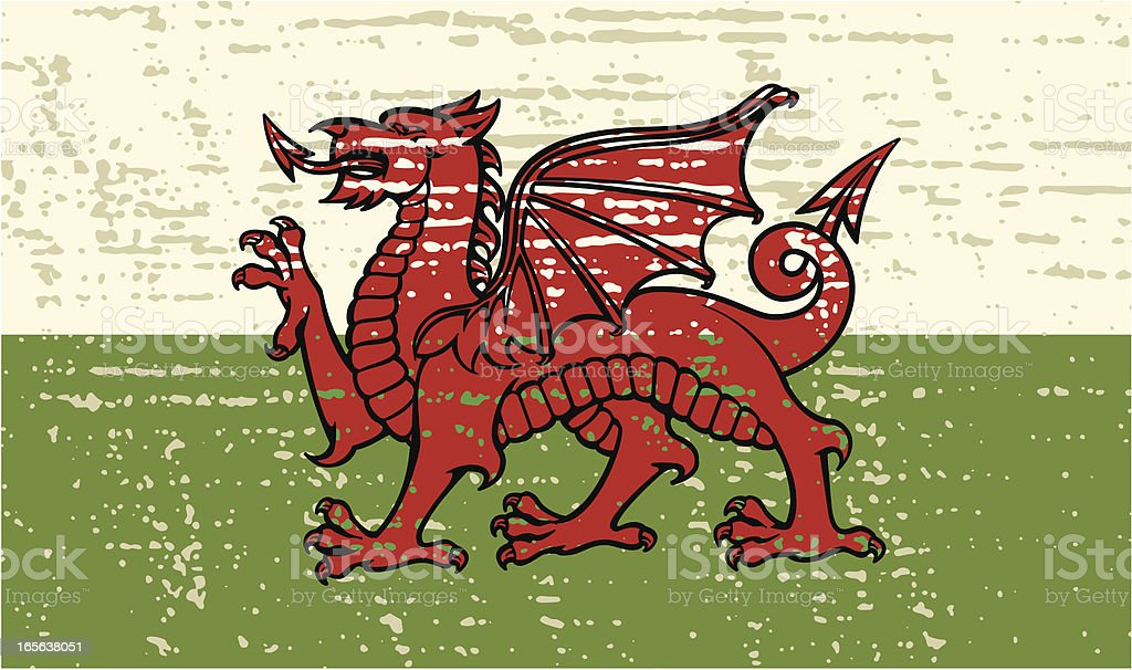 Grunge welsh flag vector art illustration