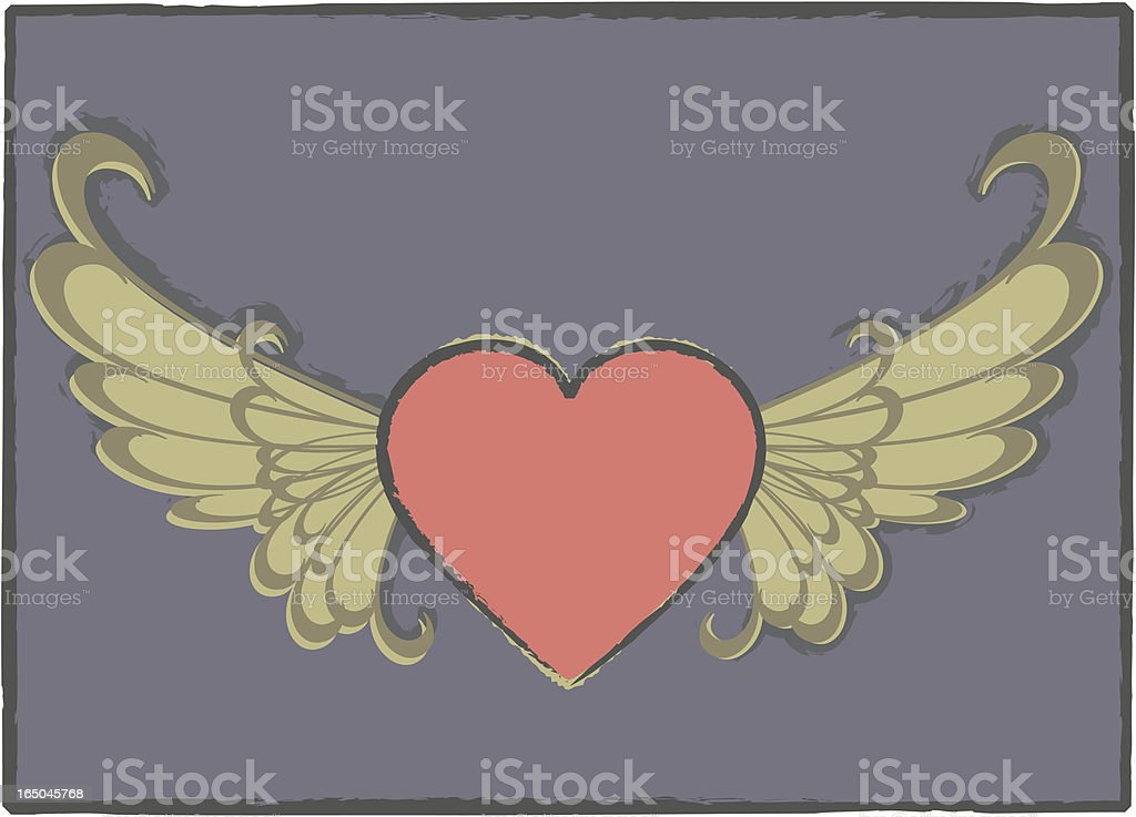 Grunge Winged Heart royalty-free stock vector art