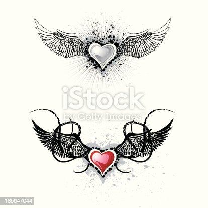 istock Grunge Winged Hearts 165047044