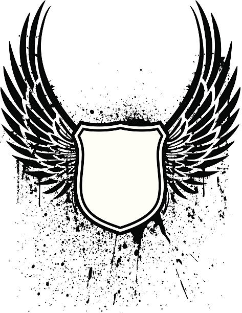 grunge winged shield tattoo - eagle character stock illustrations, clip art, cartoons, & icons