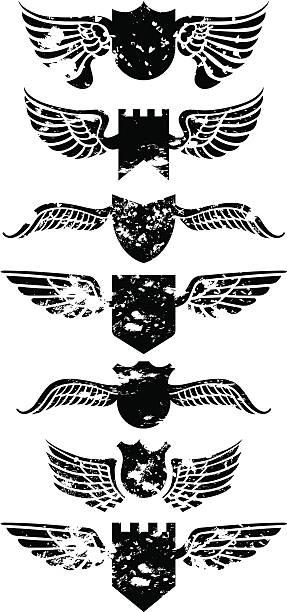 grunge-winged shields - schutzengel stock-grafiken, -clipart, -cartoons und -symbole