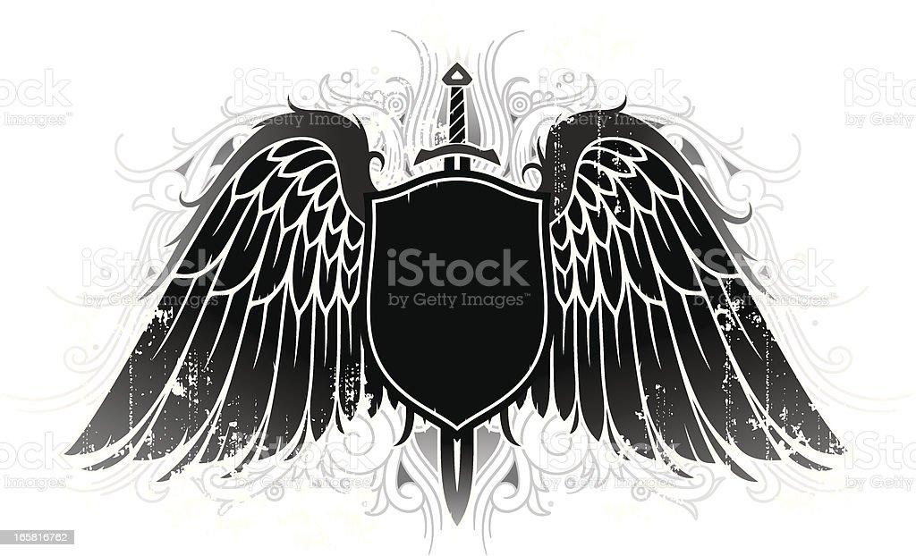 Ilustración de Alas De Grunge Con Apantallamiento Y Espada y más ...