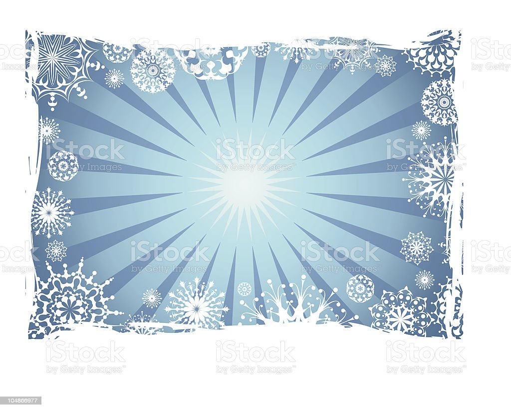 Grunge winter background with snowflakes royalty-free stock vector art