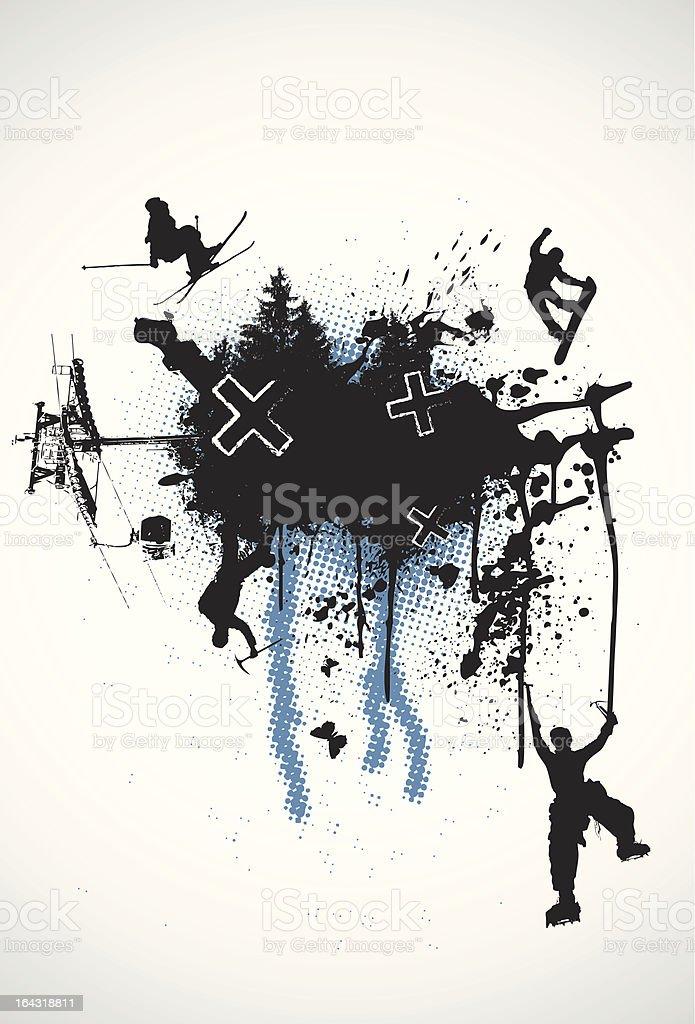 Grunge Winter Sports vector art illustration