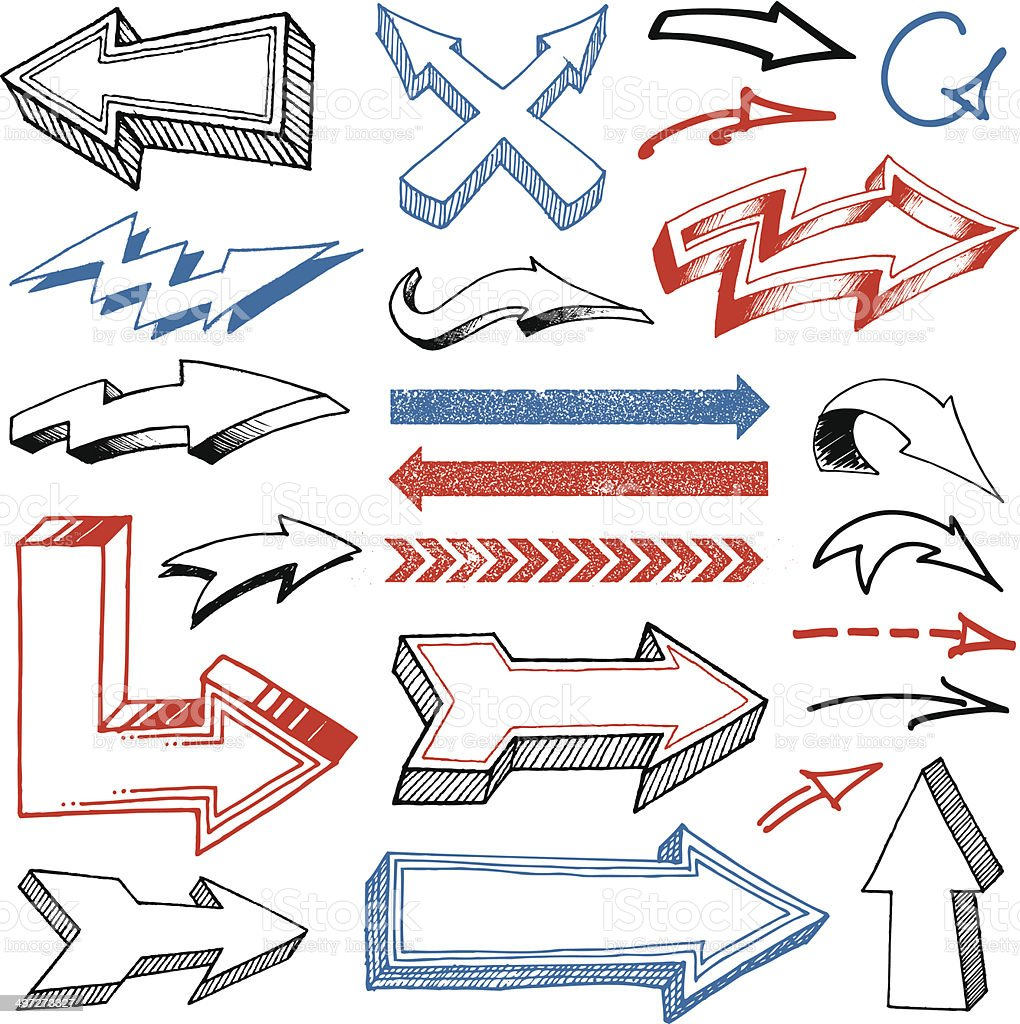 Grunged Hand Drawn Arrows set royalty-free stock vector art