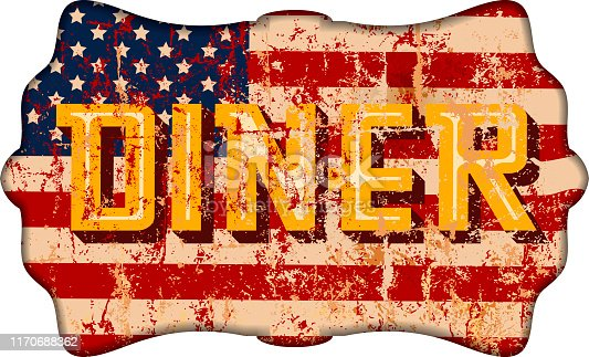 grungy american diner sign, retro style,fictional artwork, vector illustration