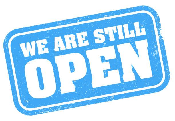 ilustrações, clipart, desenhos animados e ícones de azul grungy ainda estamos aberto carimbo ou sinal - aberto