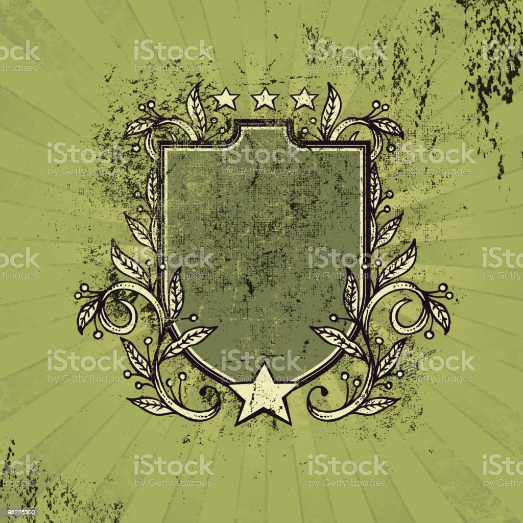 Grungy Crest with Stars and Vines royalty-free grungy crest with stars and vines stock vector art & more images of clip art