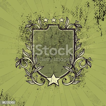 Grungy Crest With Stars And Vines Stock Vector Art & More Images of Clip Art 98225300