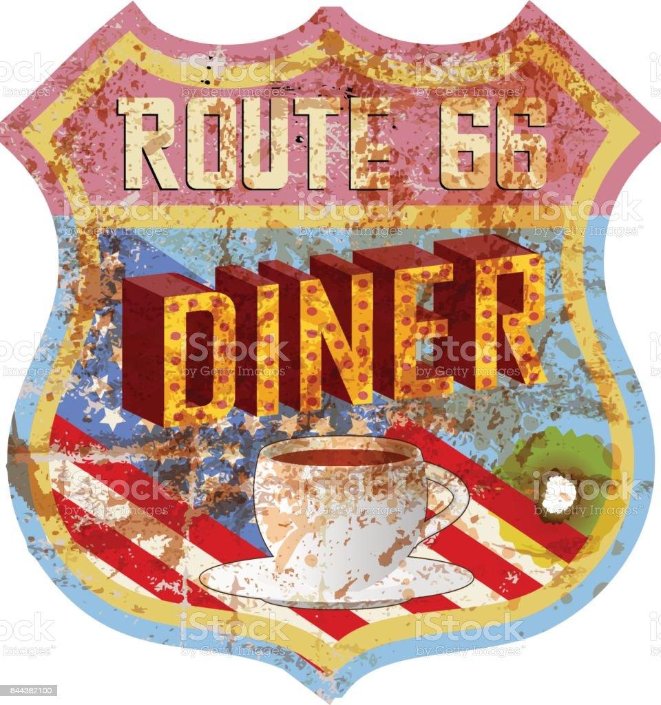grungy diner sign, vector art illustration