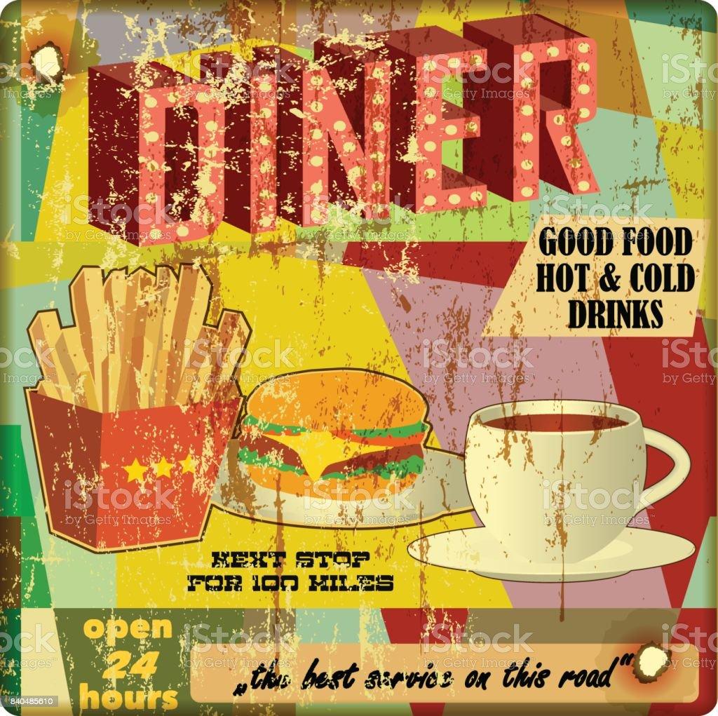 grungy diner sign, vector vector art illustration