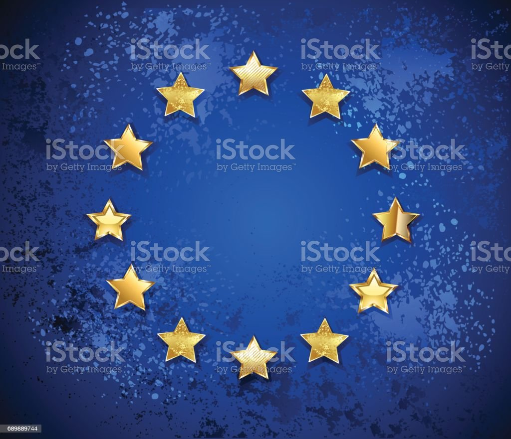 Grungy European Union symbol vector art illustration