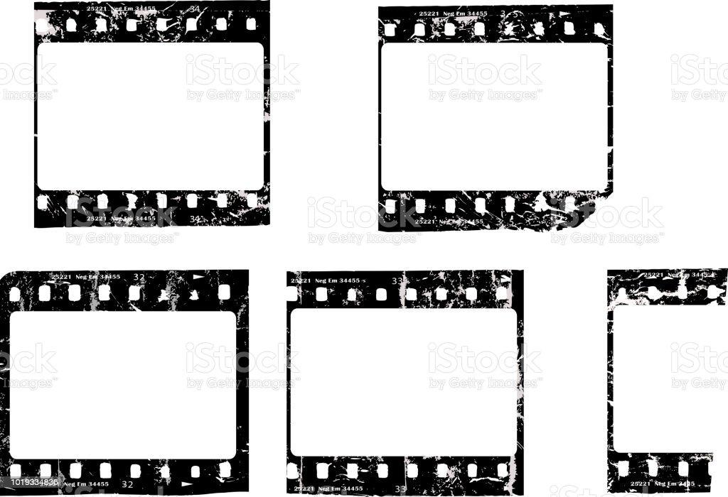 trashigen Filmnegative oder Dias, leere Bilderrahmen, frei kopieren Raum fiktive Kunstwerk – Vektorgrafik