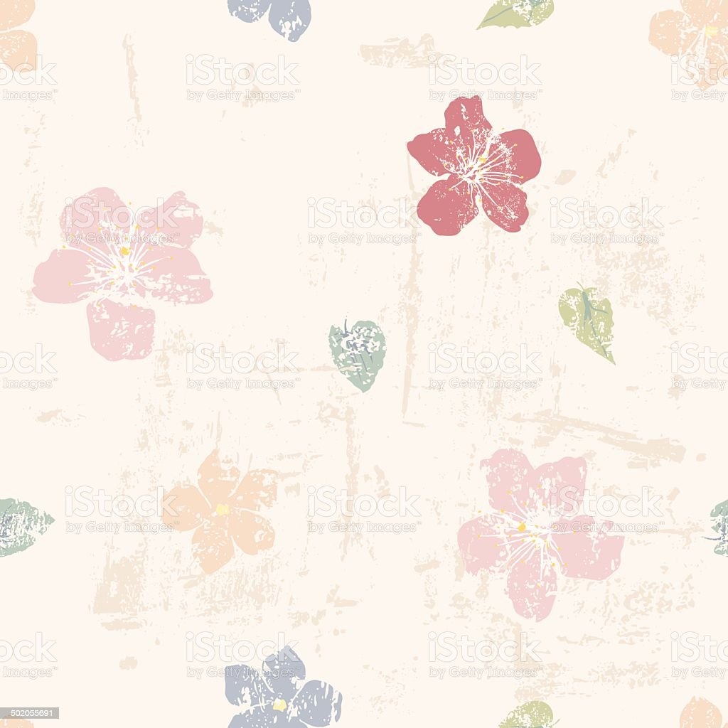 grungy floral seamless pattern royalty-free stock vector art