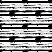 Grungy hand drawn stripes and circle. Decorative background, vector seamless pattern.