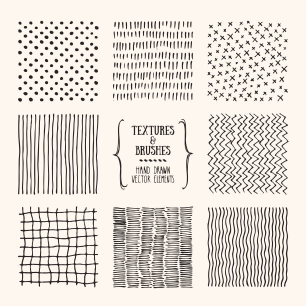 Grungy hand drawn textures, brush strokes. Design template collection. Abstract vector clipart set isolatad on white background. Hand drawn textures and brushes. Artistic collection of square design elements, graphic patterns, geometric ornaments, abstract lines made with ink. Isolated vector set. squiggle stock illustrations