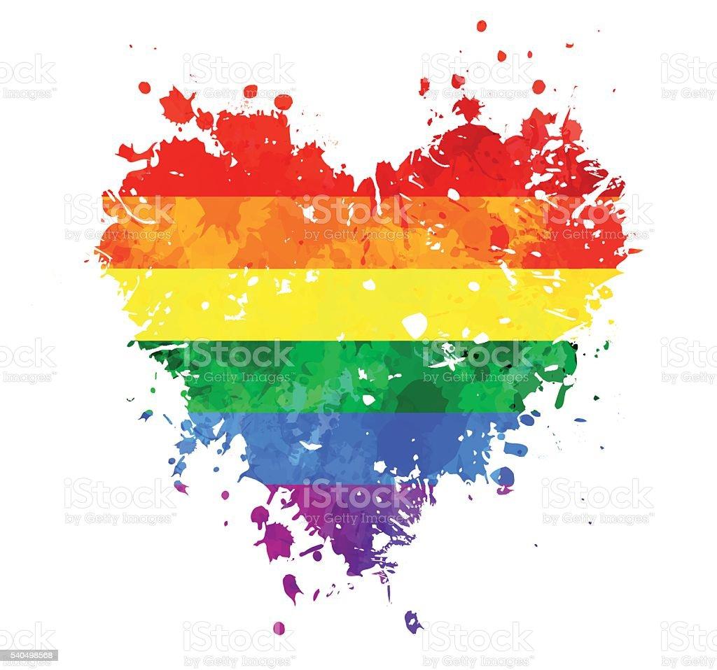 LGBT grungy heart vector art illustration