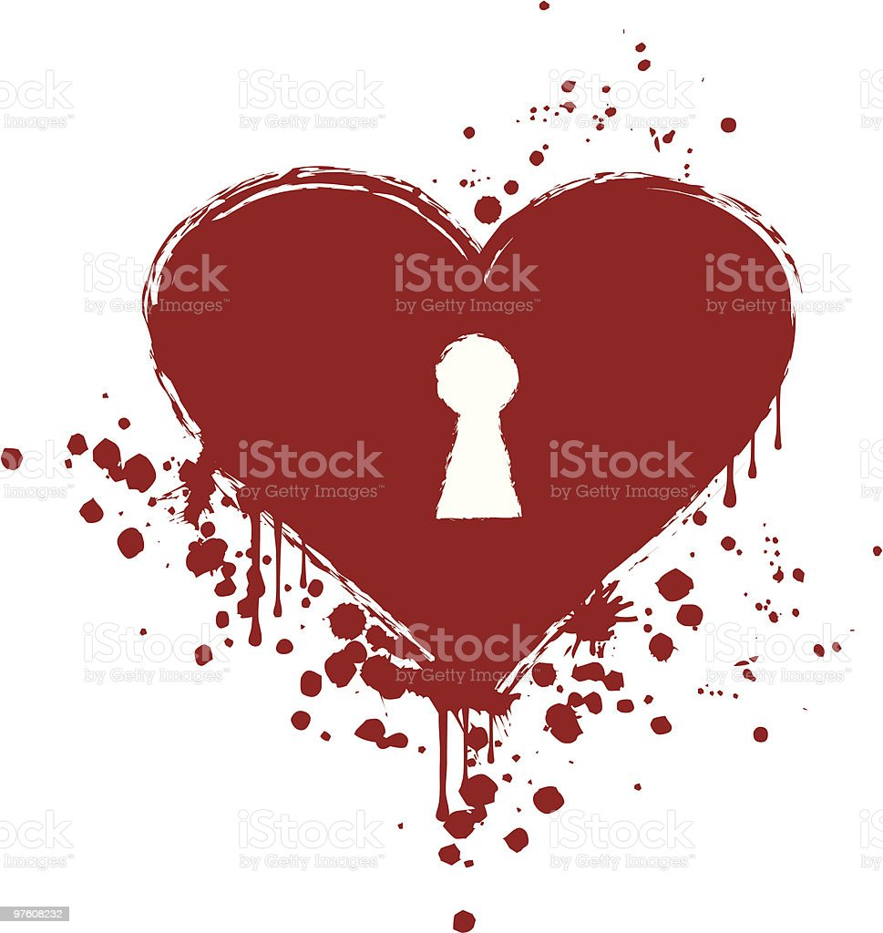 grungy heart with keyhole royalty-free grungy heart with keyhole stock vector art & more images of color image