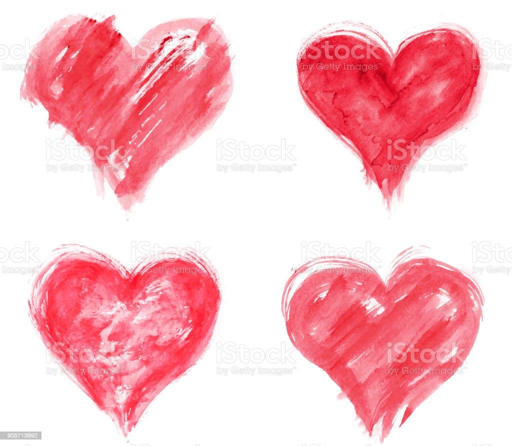 Grungy hearts vector art illustration