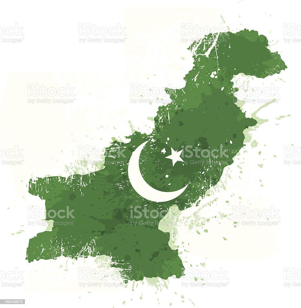 Grungy Pakistán Mapa - ilustración de arte vectorial