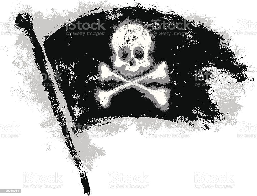 Grungy Pirate Flag royalty-free stock vector art