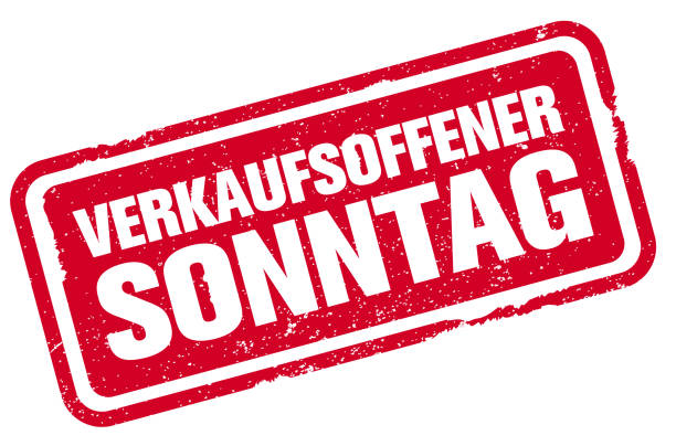 grungy czerwony gumowy stempel z tekstem verkaufsoffener sonntag, niemiecki na niedzielne zakupy lub niedzielne otwarcie - pieczęć gumowa stock illustrations