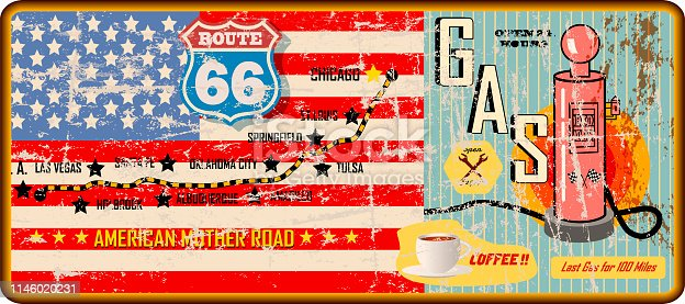 grungy route 66 gas station sign and road map,retro vector illustration